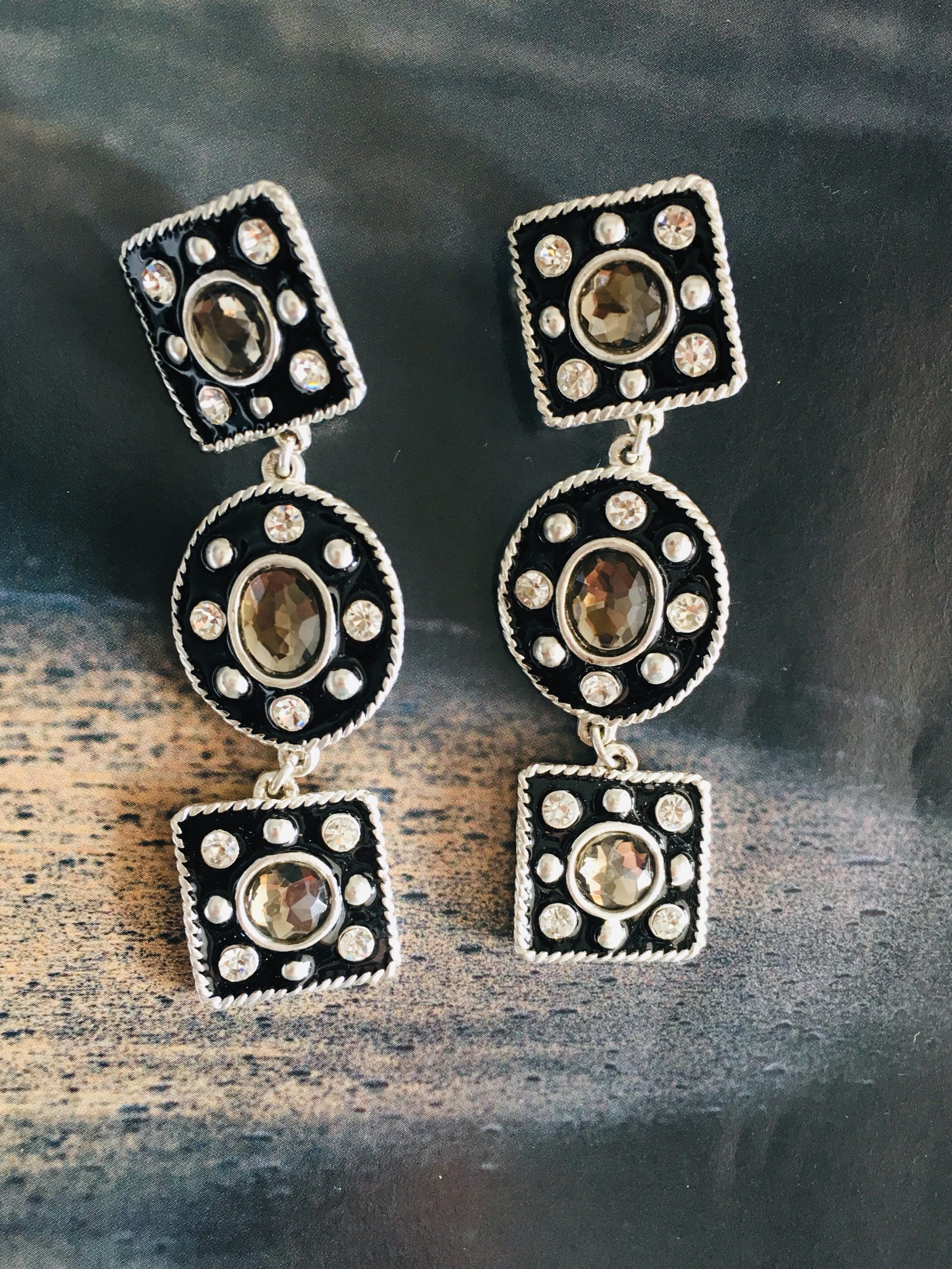 1f8241c0c719d2 DOLCE VITA - long earrings in silver metal clips, black enamel, cabochons  smoky resin and rhinestones-great for going out!