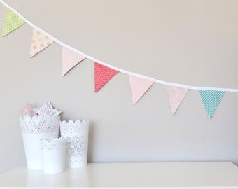 Fabric Bunting Garland Banner - Pinks and Greens - Double-Sided - Girl Room/Nursery/Party Decor