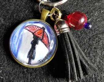 Girl With Red Umbrella Keychain/Charm with Tassel