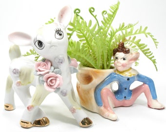 Vintage Elf by Stump Planter, White Floral Deer Figurine