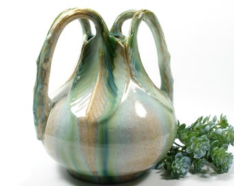 Faiencerie Thulin Pottery Vase, Vintage Green Drip Glaze Double Leaf Handle Vase, Made in Belgium