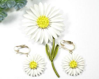 Enamel Daisy Brooch and Clip Earrings, Vintage White Flower Jewelry Set