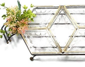 Mid Century Black Metal and Glass Relish Tray, Vintage Divided Serving Hors d'oeuvres Tray