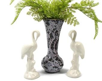 Mid Century Pink and Black McCoy Vase, Vintage Ivory Flamingo Figurines