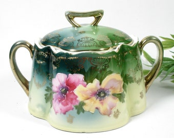 Green Floral Antique Sugar Bowl, Bavaria Z.S. & Co, Hand Painted