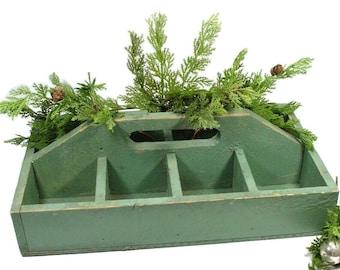 Vintage Wood Carrier Box, Green Wood 8 Slot Organizer, Holiday Farmhouse Decor, Gardeners Caddy