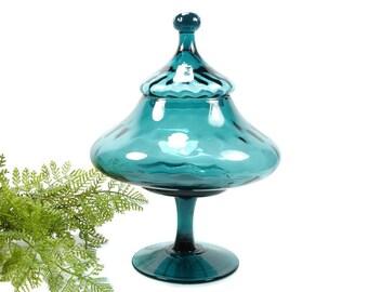 Vintage Empoli Teal Glass Jar, Mid Century Pedestal Apothecary Jar, Italy