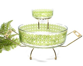 Jeanette Green Glass Chip and Dip Bowls with Gold Metal Caddy