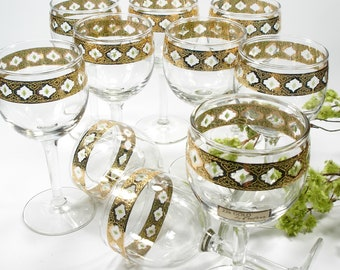 Mid Century Culver Valencia Wine Glasses, 22K Gold and Green, Set of 10, Vintage Barware, Gift for Her, 1960's