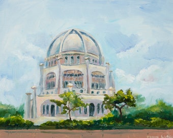 Bahai Temple - Original Plein air Painting - Mother gift