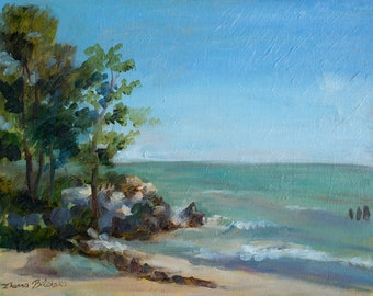 Leone Park Beach - Original Plein air Painting - Chicago