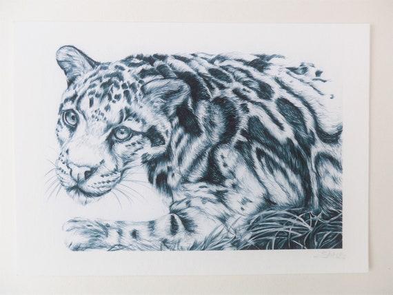 Dessin Panthere Leopard Impression Dart Dessin Pen Noir Et Etsy