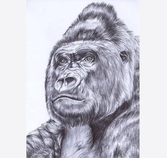 DrawingAnimal DecorFather's ArtPen Jungle DayGiftWildlife Gorilla PortraitIllustrationHome Wall nvOymN80w