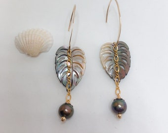 Handmade Mother of Pearl Dangled Kalo Earrings, with Pearls, Made in Hawaii, Gifts from Hawaii, Hawaiian Jewelry
