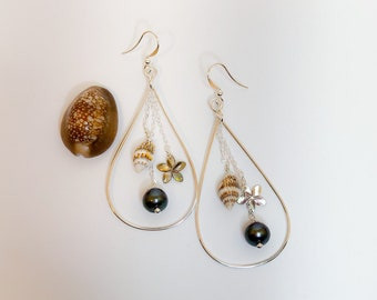 Sea Shell Hoop Earrings, Dangled with Pearls, Mother of Pearl Flowers, Made in Hawaii, Gifts for Her, Hawaiian Jewelry