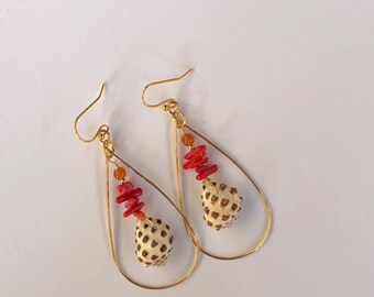 Gold Hoop Earrings with Dangled Red Coral and Hawaiian Drupe Shells. Hand Made in Hawaii.