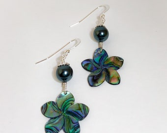 Abalone Plumeria Shell Earrings with Pearls, Made in Hawaii
