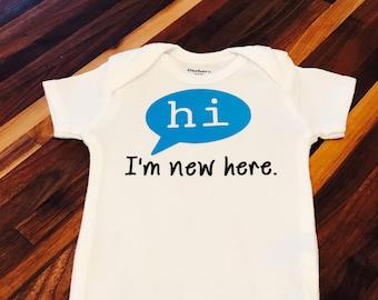 hi, I'm new here baby onesie