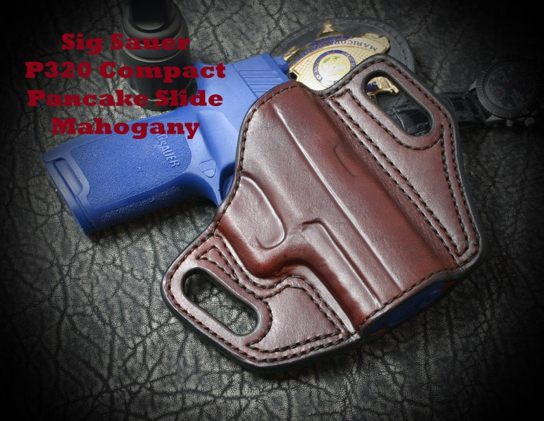 Sig Sauer P365 with factory Lima laser in Red  Outside the Waist Band  (OwB)  Custom leather holster  Hand Made  Hand Crafted