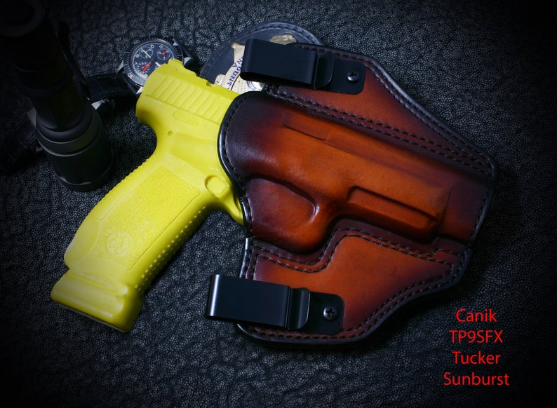 Canik TP9 SFX  Pancake Slide Holster  Outside the Waist Band (OWB)  Custom  leather holster  Hand Made  Hand Crafted
