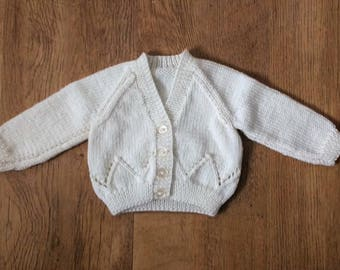 Cream Knitted Baby Cardigan 0 - 3 Months