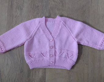 Pink Knitted Baby Cardigan 6 - 9 Months