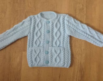 Blue Aran Cardigan with Pockets 9 - 12 Months