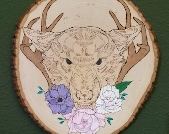 Wood Burned Wolf With Antlers