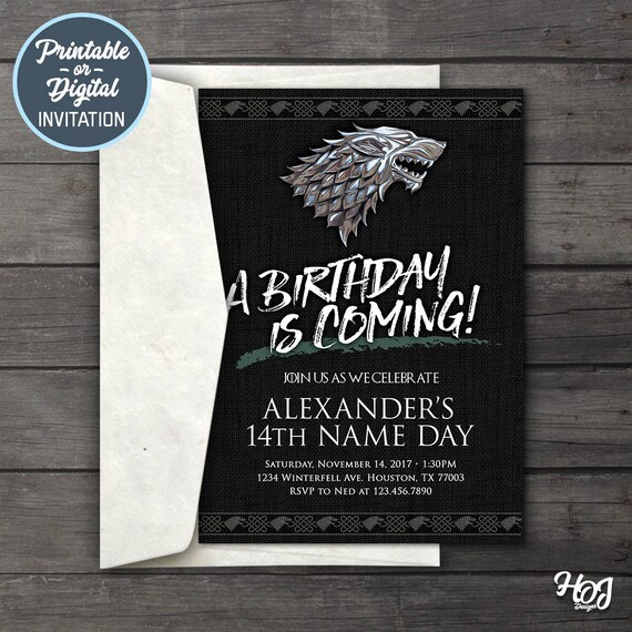 Game Of Thrones Digital Birthday Party Invitation Game Of Etsy