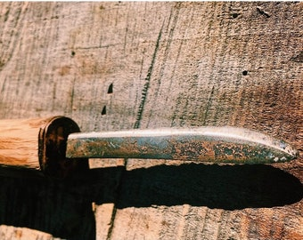 Custom steel and copper bladed knife with red oak handle