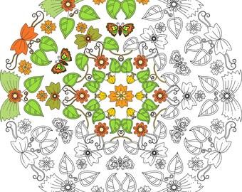 Mandala Kleurplaten Pauw.Afdrukbare Pauw Veren Cirkel Kleur Uit Instant Download Etsy