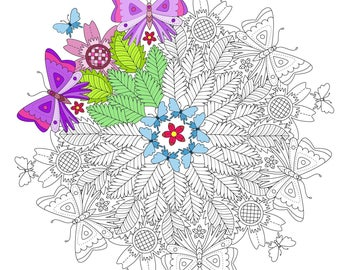 Adult Coloring Page Butterflies and Leaves Mandala