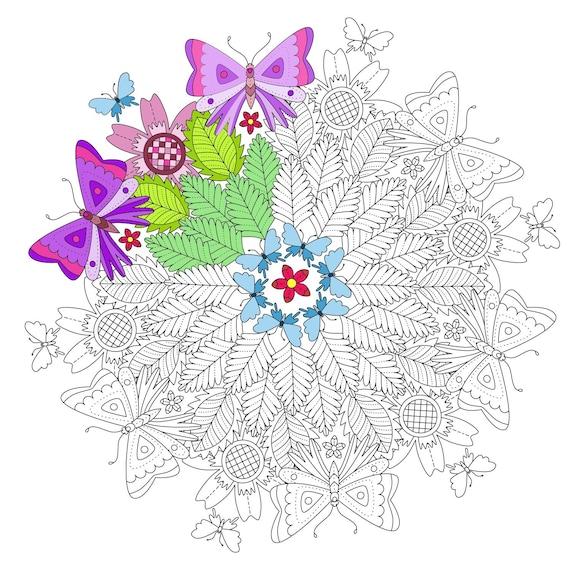 Adultos para colorear página mariposas y hojas Mandala | Etsy