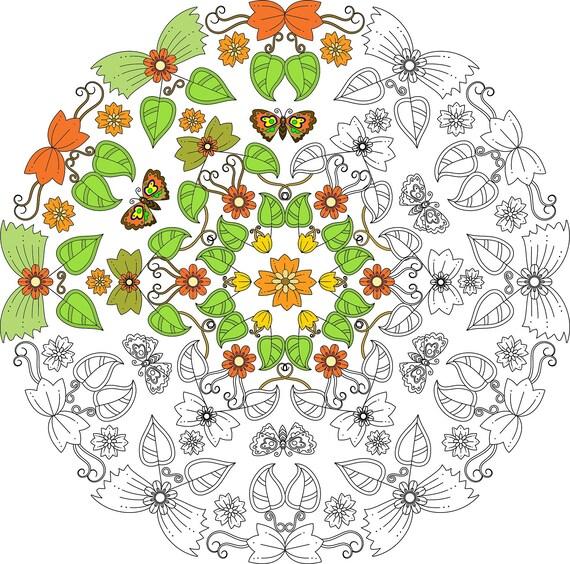 Página de para colorear Mandala mariposa delicada Colorante | Etsy