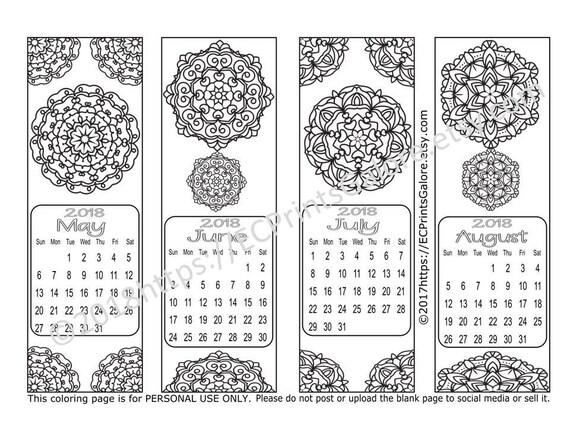 Calendario 2018 favoritos para imprimir a Color en Mandala | Etsy