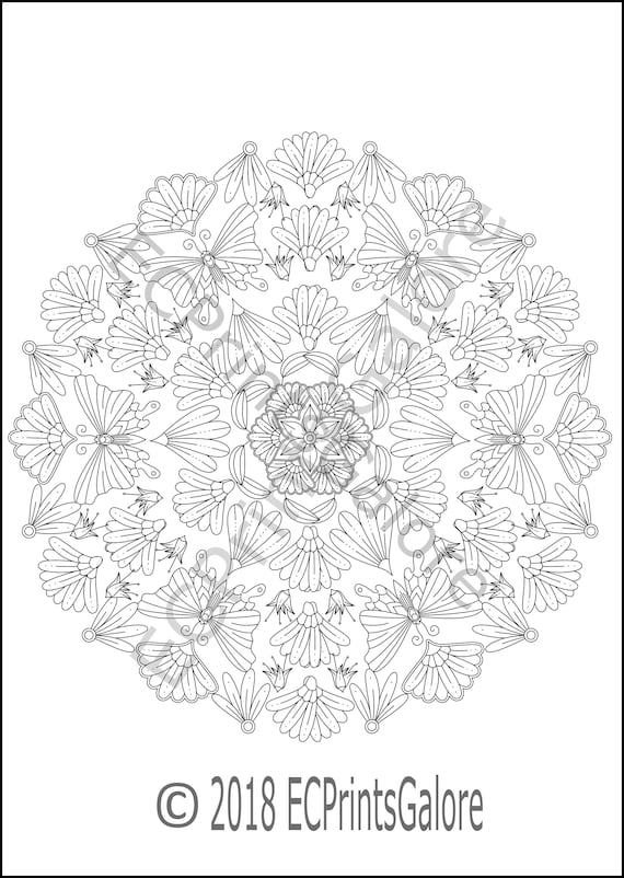 Butterfly Mandala Coloring Page For Adults Instant Download Etsy