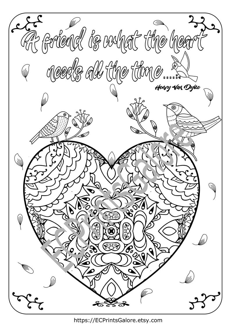 Coloriage Adulte Citation.Coloriage De Limage Un Coeur Imprimable Coeur De La Etsy