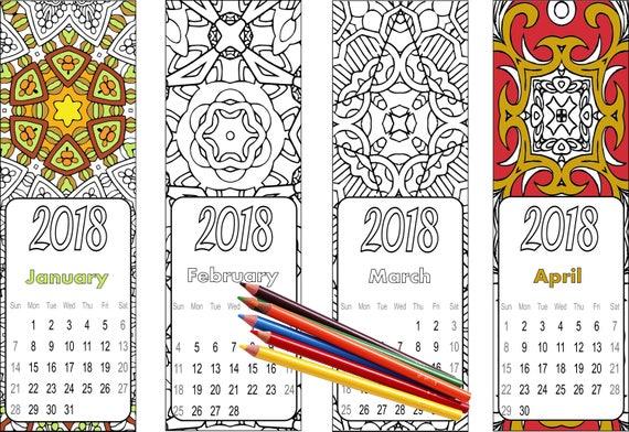2018 para imprimir calendario marcadores a Color Instantánea | Etsy