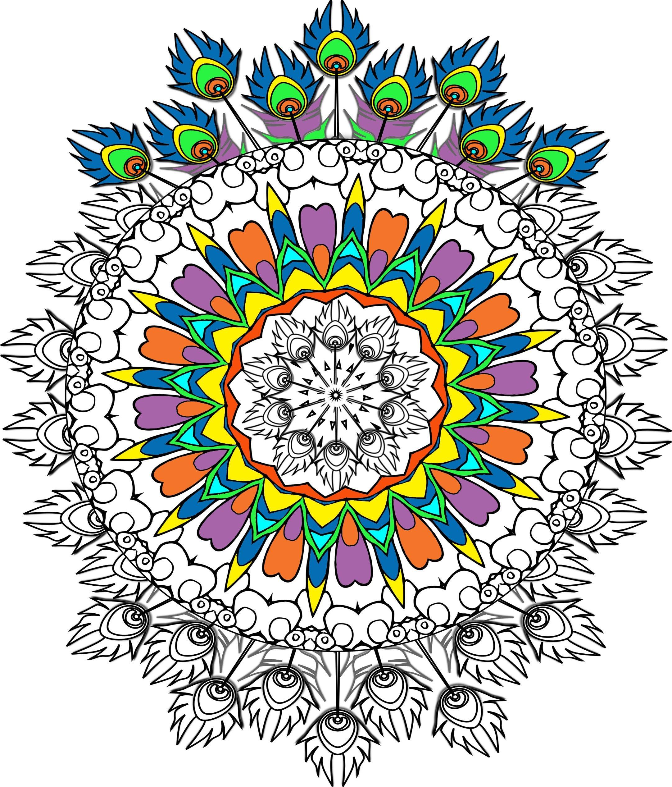 Círculo de plumas de pavo real para imprimir a Color en   Etsy