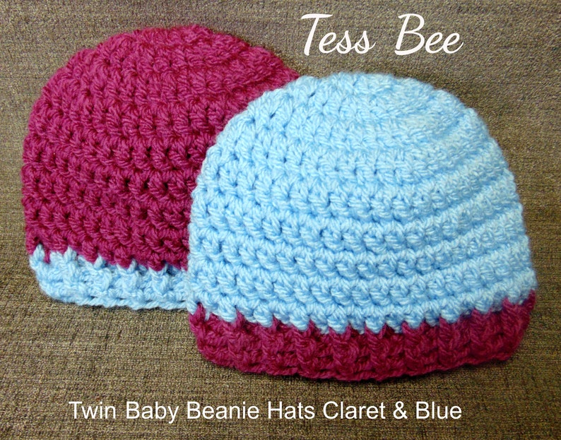 64d935fcba8 Twin Baby Beanie Hats Two Team Hats in Claret   Blue Cute