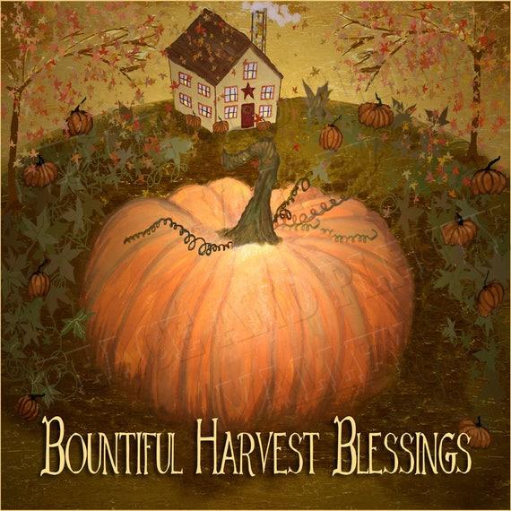 Primitive Look Autumn Fall Harvest Pumpkins For Sale Folk Art PRINT ONLY 8x10