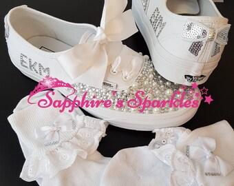 Crystal Bows Pearl Vans Customised Vans Bride Vans Bling Vans White Vans Wedding Vans Wedding Shoes Bride Shoes Prom Shoes Prom Vans + Socks
