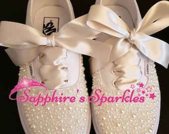 Ivory Pearl Vans Customised Vans Bride Vans Wedding Vans Wedding Shoes Bride Shoes Prom Shoes Prom Vans Ivory Pumps