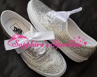 Fully Crystalised Vans Customised Vans Bride Vans Bling Vans White Vans Wedding Vans Wedding Shoes Bride Shoes Prom Shoes Prom Vans pumps