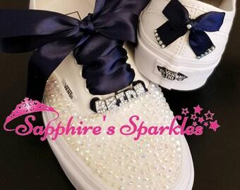 White Sparkly Vans Customised Vans Bride Vans Navy Vans White Vans Wedding Vans Wedding Shoes Bride Shoes Blue Shoes Prom Vans Wedding Pump