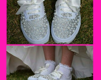 Ivory Vans Customised Vans Bride Vans Bling Vans Wedding Vans Wedding Shoes Bride Shoes Vans Wedding Pumps Ivory Pearl Vans