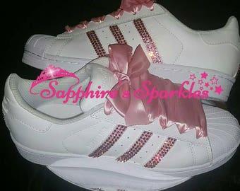 Pink Custom Sparkly Crystal Bling Standard Or Swarovski Crystals Customised  White Baby Pink Adidas Superstars 8f6c70ef91