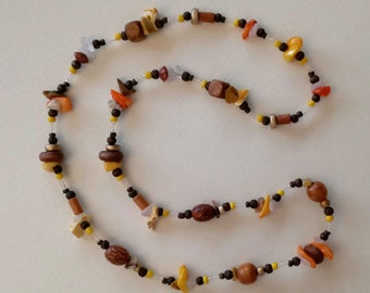 Sun and Sand Shell, Wood and Stone Necklace