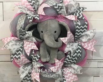 Pink Baby Girl/Baby Boy Elephant Wreath, Nursery Wreath, Baby Girl Wreath, Elephant Wreath, Baby Wreath, Pink/Gray Wreath