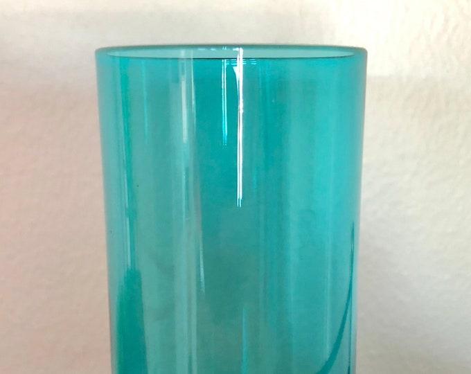Nanny Still Petroleum Blue 'Harlekiini' (Harlequin) Drinking Class - Finnish Mid-Century Modern Glass Design from Riihimäen lasi, Finland